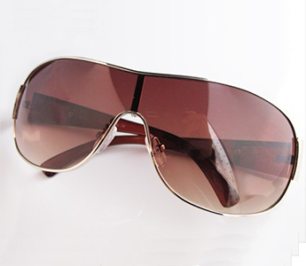 Gold Brown Aviator Fashion Unisex Metal Trim Sunglasses